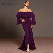 Buy Clocolor female sexy elegant dress plus size 2018 new Autumn winter flare sleeve ruffles shoulder Asymmetrical length for $23.08 in AliExpress store