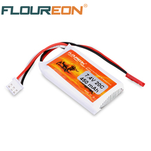FLOUREON 2S 7.4V 450mAh 20C Lipo Rechargeable Battery Pack JST Plug for specially designed 250 RC Helicopter(China)