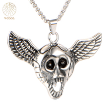 VCOOL NewArrival Angle Wing Punk Skull Men Pendant Bloody Mouth Kito Pendants Charm Unisex Stainless Steel Fashion Jewelry VP342(China)