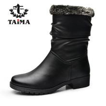 TAIMA Brand New Style Winter Women Boots Warm PU Leather Snow Boots Female Round Toe Mid-Calf Fashion Flats Boots