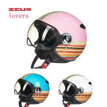 DOT Women pink blue ZEUS ZS-210c half face motorcycle helmet with Lining unpick and wash, motorbike helmets scoote dirt bike(China)