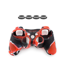 4x Controller Analog Grips Thumbstick Cover +1x Rubber Gel Case for Sony Playstation 3 PS3 Game Accessories