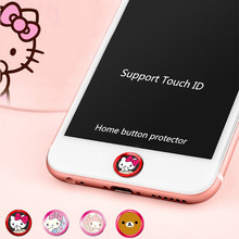 Cartoon Cute Bear Cat Touch ID Home Button Sticker Key Covers Film keypad keycap for IPhone 5s 6 6s 7 plus 5 5s Se ipad mini 3(China)