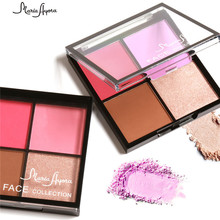 4 Colors Red Pink Cheek Color Shimmer Matte Blushers for Face Bronzer Blush Powder Highlighter Make Up Palette(China)