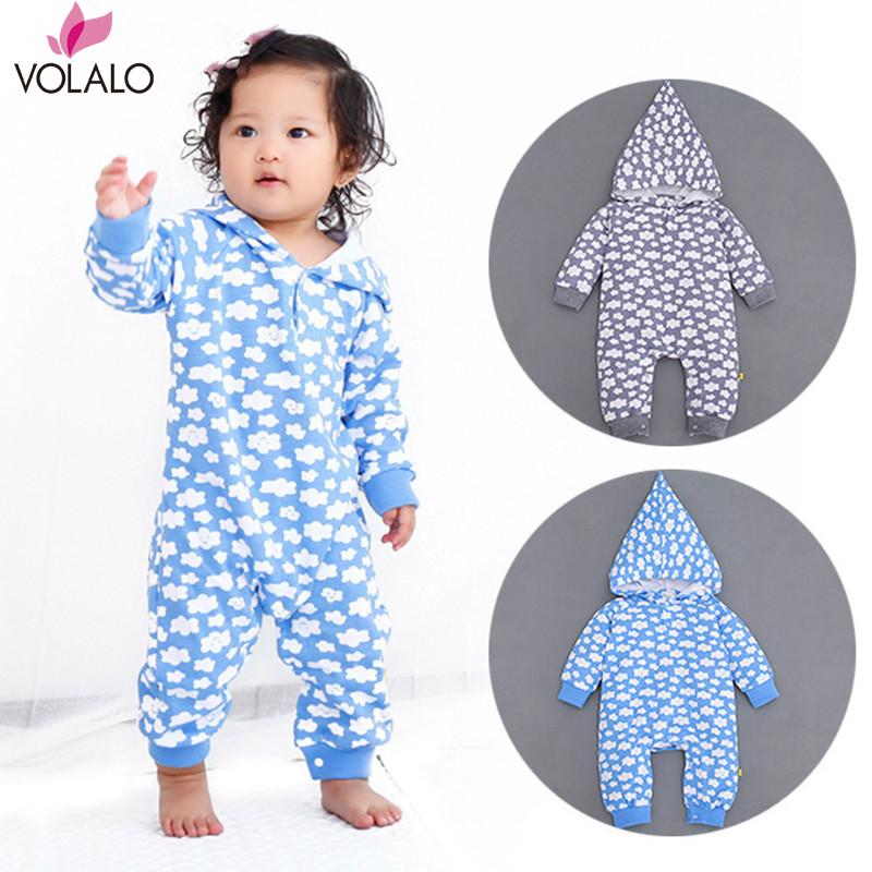 2016 Baby Rompers Print Baby Girls Boys Clothes 100% cotton Warm Infant print flaky clouds Hooded Jumpsuits Coverall for Autumn<br><br>Aliexpress