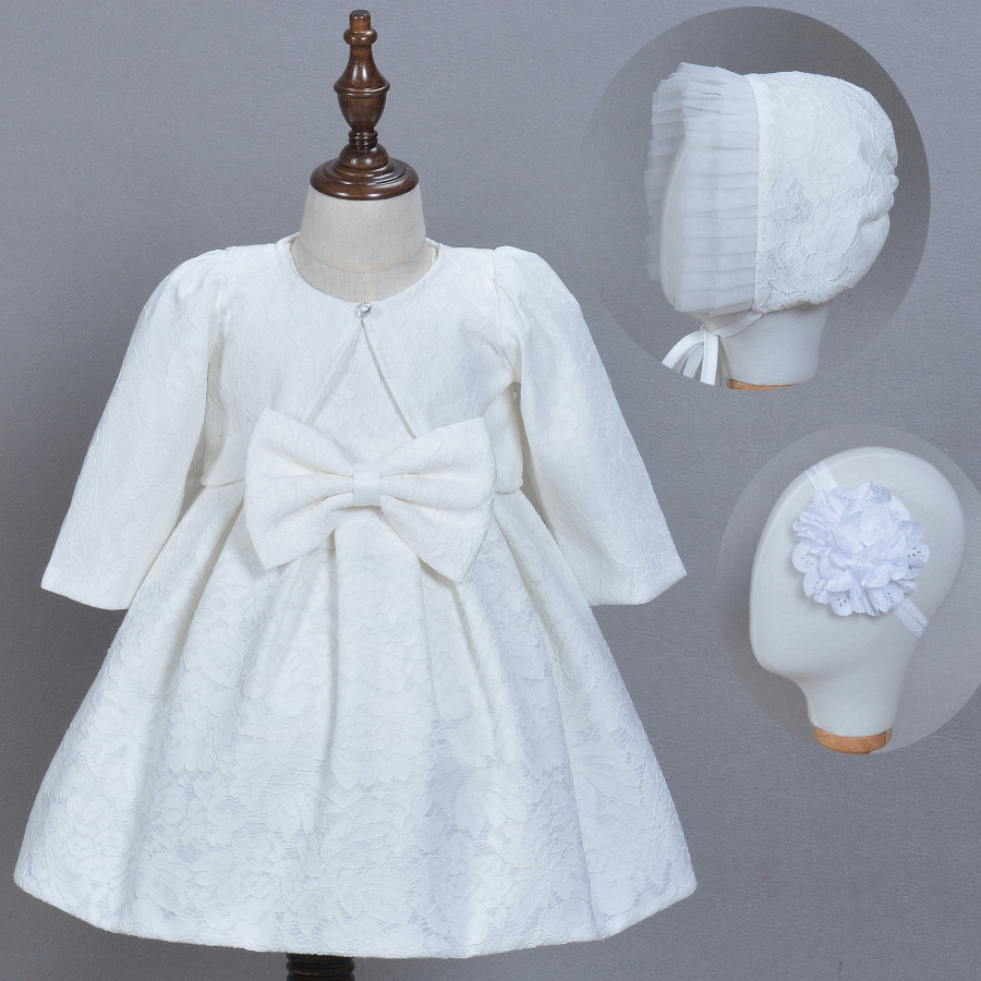 Newborn Baptism Dress Baby Gril Pageant Princess Wedding Christening Dresses Infant Lace Beaded Frock + Jacket + Hat + Head Band<br>