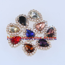 10mm*14mm,5pcs/bag,10color,water drop shape,glass crystal rhinestone,Handmade sew on rhinestone claw stone gold bottom,for dress