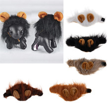 Fashion Pet Dog Cat Costume Wig Funny Lion Mane Ears Head Warm Cap Scarf With Ears(China)