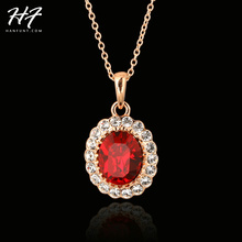 Elegant Rose Gold Color Red Crystal Pendant Necklace Jewelry Austrian Crystal  For Women Wholesale N308