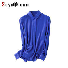Women 100% real silk Blouse long sleeve Solid chiffon shirt Blusas femininas Office lady style Simple button shirt  2017 3XL