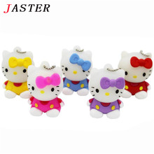 JASTER hot sell 5 colors Hello Kitty USB Flash  Drive cat pen drive special gift fashion cartoon Animal pendrive 4GB/8GB/16GB