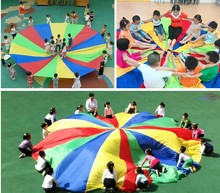 6m Child Kid Sports Development Outdoor Rainbow Umbrella Parachute Toy Jump-sack Ballute Play Parachute