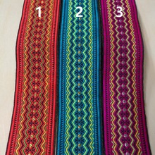 5cm 50mm 2' colorful Red Blue Pink filigree zigzag waved trim ethnic costume curtain laciness national jacquard ribbon webbing