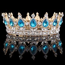 Luxury Sparkling Princess King Crown Gold/Silver Crystal Rhinestones Round Tiaras And Crowns Queen Pageant Prom Hair Jewelry