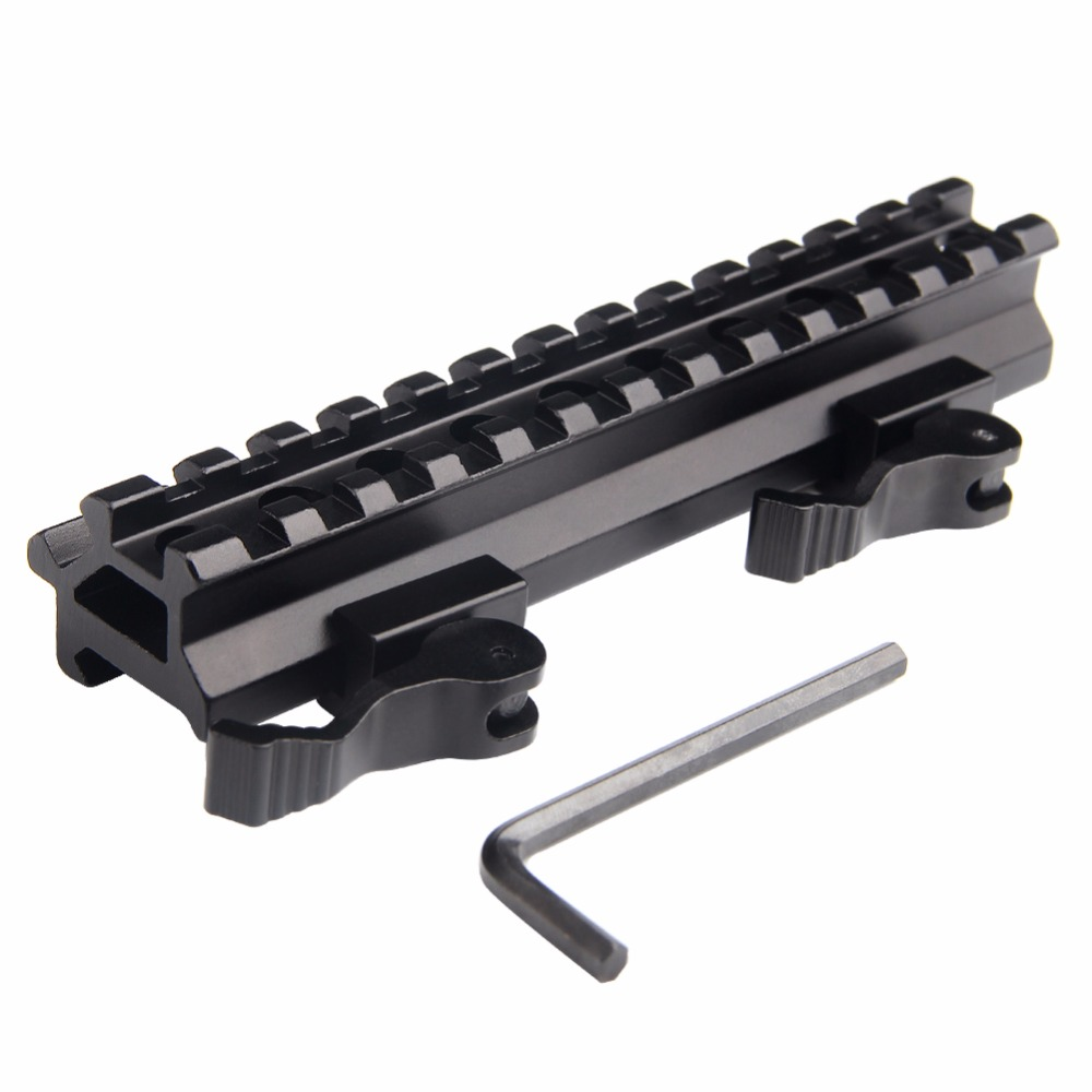 Airsoft Long Quick Detachable Double Rail Angle Weaver Picatinny Mount Integral QD Lever Lock System 13 Slots For Hunting RL1-0012-3