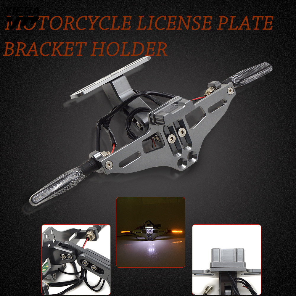 Motorcycle License Plate Bracket Licence Plate Holder With Light FOR Kawasaki z800 z1000 YamahaTMAX500 530 KTM DUKE250 390 Honda