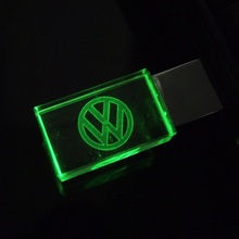 Custom logo crystal LED Pen drive Volkswagen 4GB 8GB 16GB 32GB VW Logo Car USB flash drive 2.0 Memory stick Free LOGO Over 20pcs