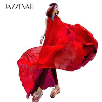 Jazzevar noticias verano suelta una línea más grande dobladillo gasa bohemia dress de las mujeres con clase x-long beach dress 12 colores con cinturón