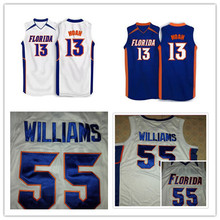 #13 Joakim Noah #55 jason williams Florida Gators White,blue 2007 Basketball Jersey,custom any sizes,all name and numbers are