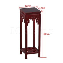 Mxfans 12x12x33mm Rose Wood Color 1:25 Dollhouse Miniature Flower High-Foot Chinese Table Furniture Building Model