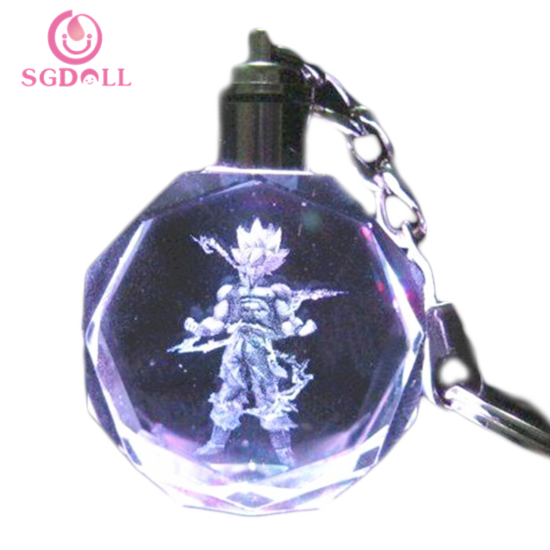 [SGDOLL] 2017 New Anime Dragon Ball Z Super Saiyajin Son Goku LED Light Crystal Pendant Key Chain 16081218<br><br>Aliexpress