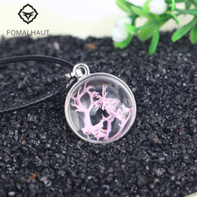 Hot FOMALHAUT Crystal glass Ball Purple coral Long Strip Leather Chain Dried flower Pendant Necklace Women 2016 Jewelry XX15