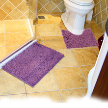 2pcs/set Cheap Chenille Anti-skid Floor Cover Bath Mats Set Non Slip Bathroom Toliet Rugs Water Absorption Carpet Free Shipping