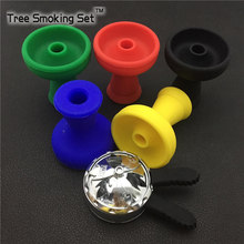 Ashtray And Black Charcoal Racks With Two Handles +Silicone cigarette Bowl Set Into Hookah Narguile Accessories(China)