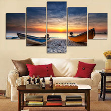 5 Panel Wall Art Landscape Paintings Beach And Boat Canvas Picture Wall Sticker Artwork On Canvas(No Frame) Wedding Decor jj266