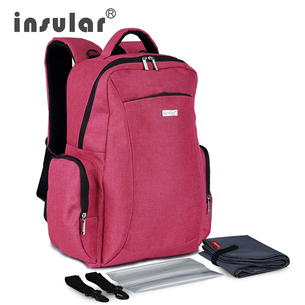 Insular Multifunctional Large Capacity Baby Diaper Bag Backpack Mommy Bag Nappy Bag Backpack Include Plastic Napkin Box<br>