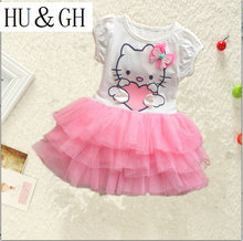 HUGH girls dress summer 2017 small  Hello kitty dress bow veil Kids love children's clothing