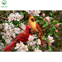 diy rhinestone embroidery little red birds full square stones inlay oil diamond painting home decor crystal art cross stitch kit