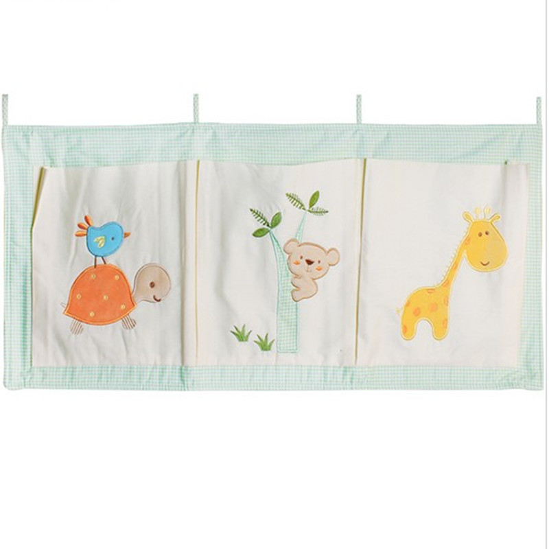 Free Cotton Crib Organizer Baby Cot Bed Hanging Storage Bag Toy Diaper Pocket Newborn Crib Bedding Set Accessories