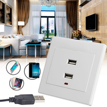 Dual USB Wall Socket Charger AC/DC Power Adapter Plug Outlet Plate Panel On Sale-Y122