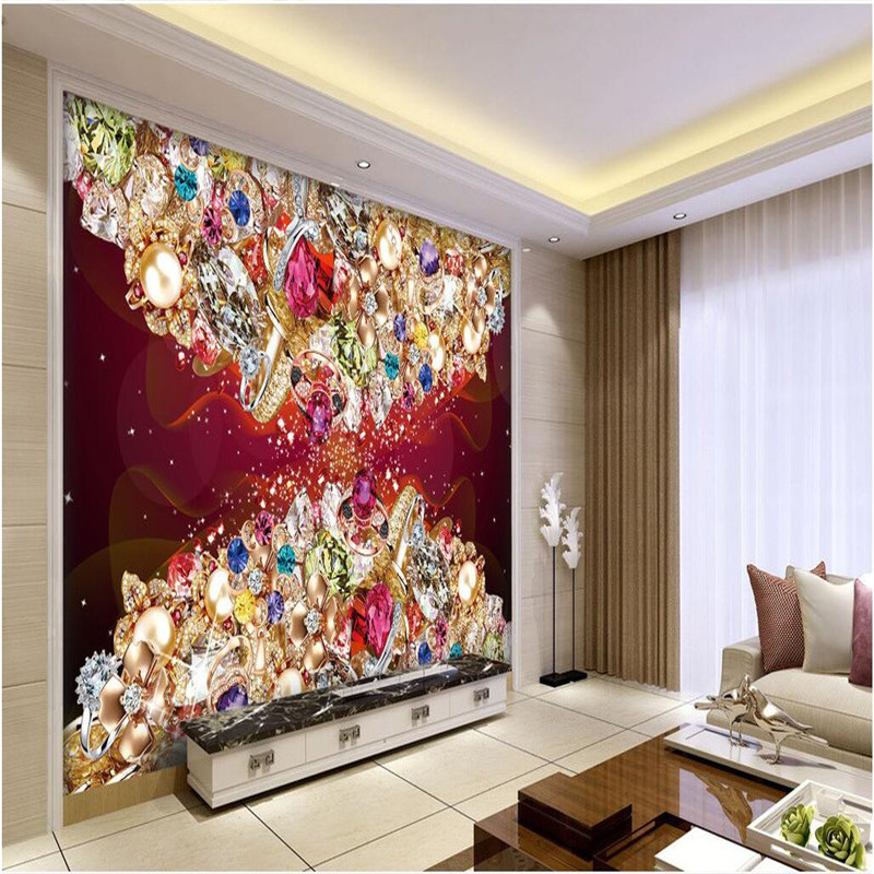 Custom wall painting art background photography Jewelry sapphire diamond ring hotel badroom wall wallpaper mural for living room<br><br>Aliexpress