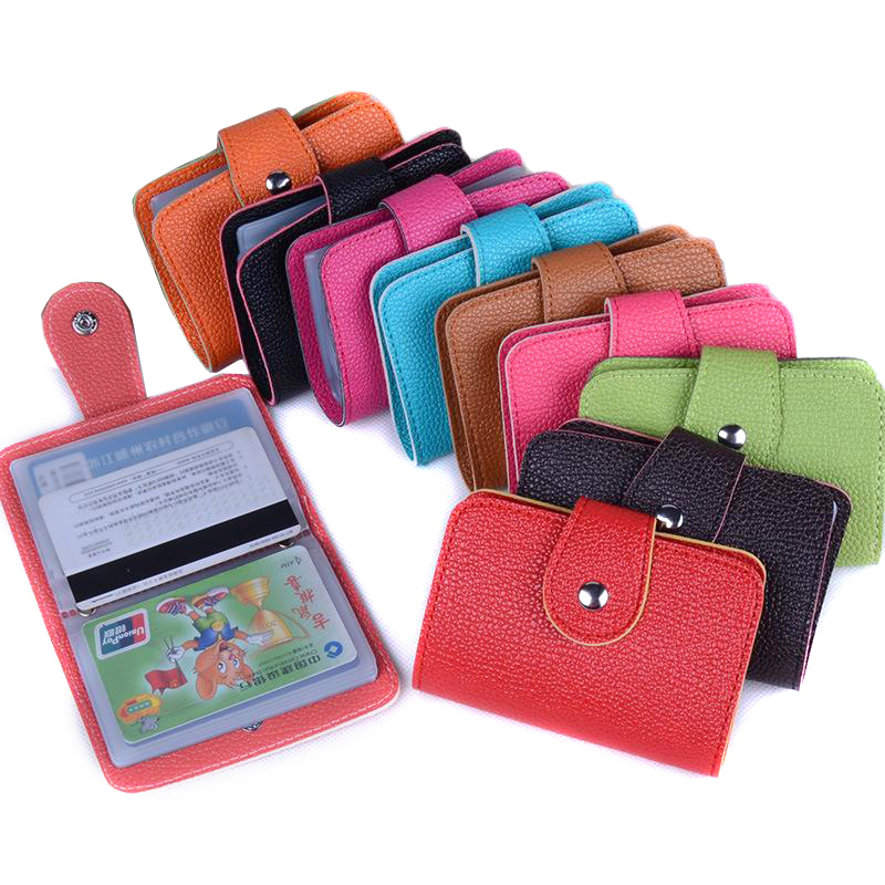 Fashion New 24 Bits Quality PU Leather Multi Credit Card Holder Litchi Profile Hasp ID Holders Package Organizer For Women Men(China (Mainland))