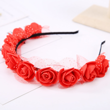 Stylish Hot Sale Flower Garland Floral Bridal Headband Hairband Wedding Prom flower headband Hair Accessories(China)