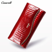 COSSROLL Luxury Women Wallets Patent Leather High Quality Designer Brand Wallet Lady Fashion Clutch Casual Women Red Purse Party(China)