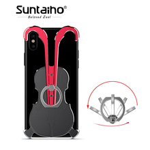 Suntaiho 2018 NEW Aluminum Alloy Phone border Case With 360 Finger Ring Stand Kickstand Violin for iPhone 7 plus 8 plus X phone(China)