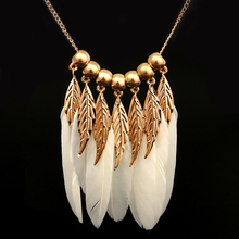 Lemon Value Statement Maxi Choker Boho Charms Collar Vintage Feather Pendants Tassels Long Necklaces Women Jewelry Collier A039(China)