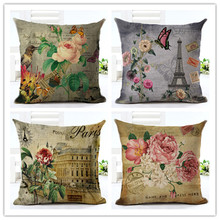 2016 New Arrival High Quality The Beautiful Flower Print Cotton linen Cushion Chair Cushion Decorative Pillow Home Decor Cojines