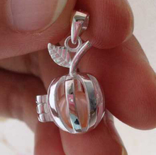 925 Silver Apple Style Pearl Crystal Gem Bead Locket Cage, Sterling Silver Pendant Mounting for Bracelet Necklace Jewelry Charm