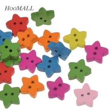 Hoomall 2017 New 100PCs Wooden Buttons Mixed Pentacle Shaped Sewing Scrapbooking Crafts 13mm x12.7mm