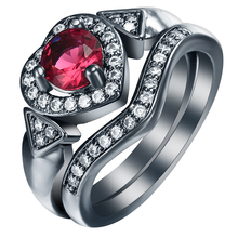 S925Mall New created red cz  black Rings Sets for women Heart jewelry gift elegant princess czech zircon Love Trendy Ring set