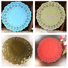 "6.5""inch/16.5cm lace paper mat doilies for cake pastry Absorb oil paper party wedding tableware decoration placemat 10 colors(China)"