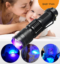 Mini flash light straight UV LED flashlight 365nm fluorescent agent detection lamp Violet zoom torch to baby women for 14500