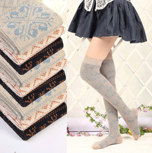2014 New Fashion Vintage Cotton Women Costumes Thigh High Stockings For Spring Beige And Black For Choose(China)