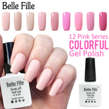 Belle Fille Pink Gel Nail Polish 10ml UV LED Soak Off Gel Polish Gel For Nails 12 Colors Varnish Vernis Semi Permanent P01
