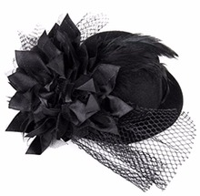 Lacontrie Black Ivory Round Sinamay Fascinator Feather Hats Birdcage Veil Fascinators Flower Hairclip Church Cocktail Party Brid