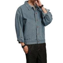 968ee097113 Men s Blue Jeans Jacket Washed Denim Slim Fit Thick Spring Autumn Coat Top  Overcoat Casual Oversize